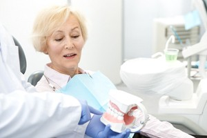 woman's denture consultation