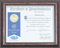 Excellence in Prosthodontics certificate