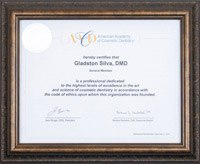 American Academy of Cosmetic Dentistry certificate