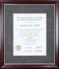 International Congress of Oral Implantologists certificate