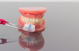 toothbrush and dentures